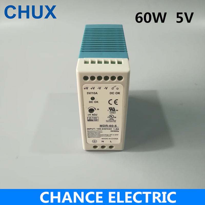 5v Din Rail Power Supply  MDR 60W 5V 12A for cnc cctv  led light  Switching Power Supply 5v DIN Rail Power Supply  Free Shipping ac dc dr 60 5v 60w 5vdc switching power supply din rail for led light free shipping