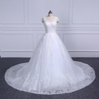 Gorgeous Real Photo Appliques Lace up back Ball Gown Wedding Dress Vestido De Novia Princesa Vintage Wedding Dresses 2018
