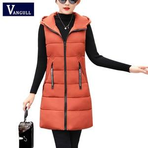 Image 1 - Vangull outono inverno colete feminino 2020 novo feminino sem mangas colete jaqueta com capuz quente longo engrossar casaco de algodão quente