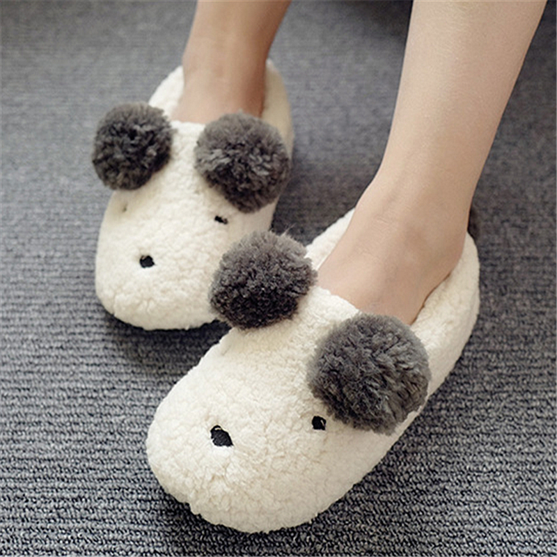 цены  New Cute Cartoon Cotton House Slippers Women Winter Indoor Warm Plush Cashmere Slipper Lovely Teddy Bear Style Home Shoes Woman