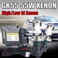 Один комплект Ксенона H4 55 Вт bi xenon 3000 К 4300 К 5000 К 6000 К 8000 К 10000 К 30000 К H4-3 Hi lo HID Conversion Kit для автомобиля фар