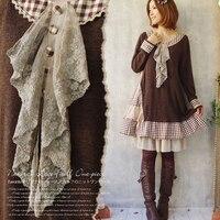 Autumn Forest Girls Style Harajuku Japanese Mori Girl Women Kawaii Sweet Loose Cravat Irregular Knitting Cute Lolita Dress C181