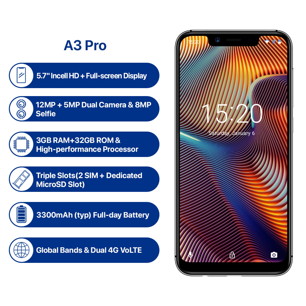 UMIDIGI A3 Pro 4G Phablet 5.7 Inch Android 8.1 MT6739 Quad Core 1.5GHz 3GB RAM 16GB 32GB ROM 12.0MP + 5.0MP Rear Camera 3300mAh