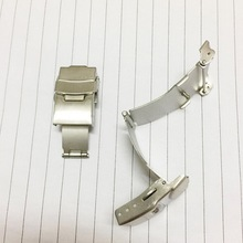 Stainless Steel Metal Double Press Button Butterfly Folding Watch Band Buckle Silver For Leather Strap Clasp 16 18 20 22 24mm outad stainless steel watch band buckle durable double folding butterfly deployment clasp for watches accessories 18 20 22 gift