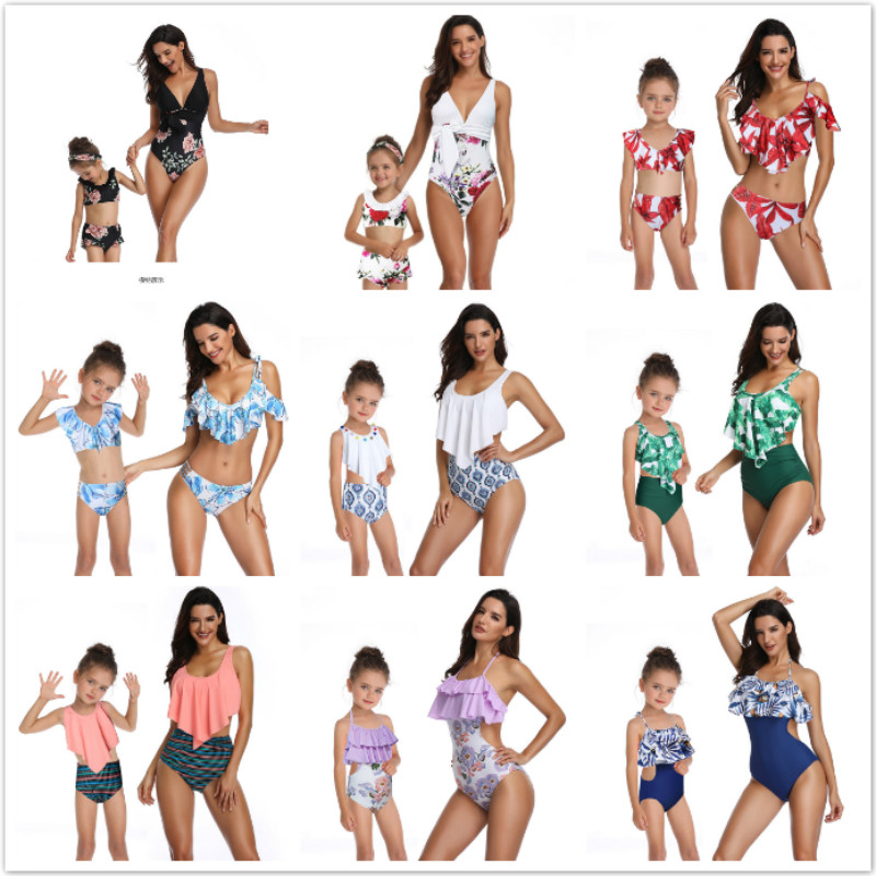2019 Mother Daughter Matching Swimsuits Printing Piece Double Lotus Leaf Parent-Child Swimwear Family Matching Swimsuit Outfits