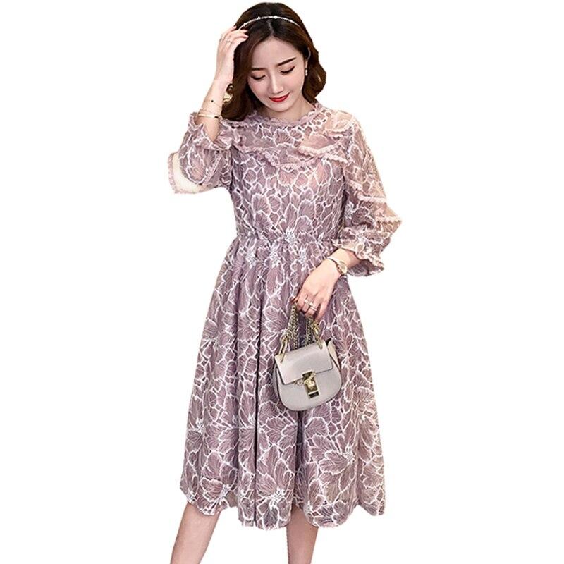 Maternity Plus Size Lace Midi Long Dress For Pregnant Women Ruffle