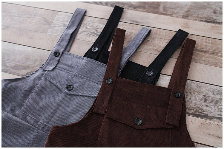 Women's Jumpsuit Belt Pants Pocket black Spring New Corduroy Trousers Carts Loose Size See And Literary College Large Casual Windy gray f6654