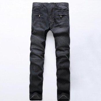 Топ бренд мода мужские Slim Fit мальчики джинсы джинсовая тонкая Байкерская брюки Узкие прямые Подиумные эластичные джинсы Брюки Синий Размер ...