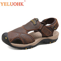2018 Men Sandals Big Size Soft Leather Sandals Men Comfortable Men Summer Shoes