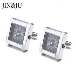 Alta Qualidade Multi-funcional Relógio Relógio Digital de Relógio abotoaduras Abotoaduras Quadrado Real Com Bateria Botão de Punho punhos Relojes gemelos