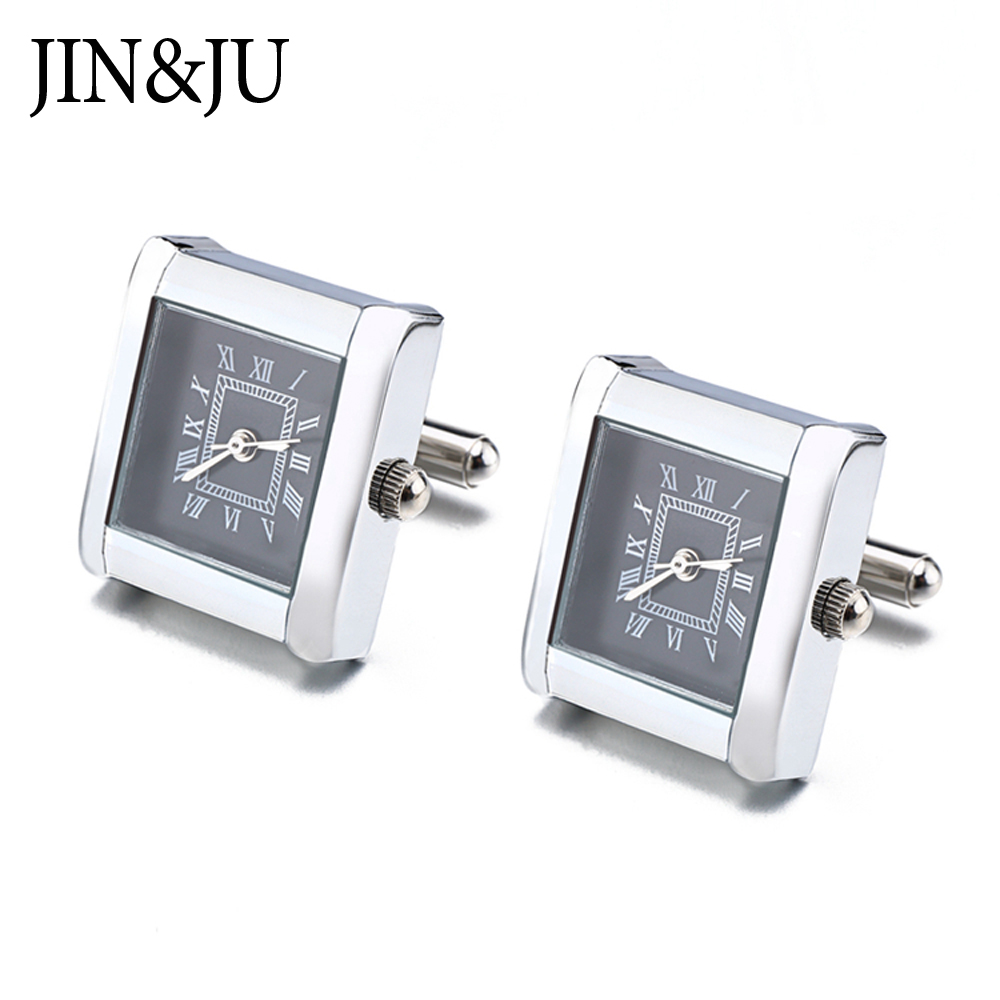 High Quality Functional Watch Cufflinks Square Real Clock Cuff Links With Battery Digital Watch Cufflink Cuffs Relojes Gemelos