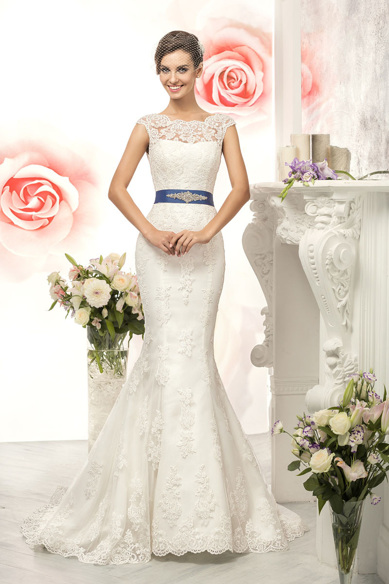 W3134 elegant long lace mermaid wedding dresses 2015 iiiusion cap w3134 elegant long lace mermaid wedding dresses 2015 iiiusion cap sleeves see though lace back with blue ribbon wedding gowns in wedding dresses from ombrellifo Choice Image