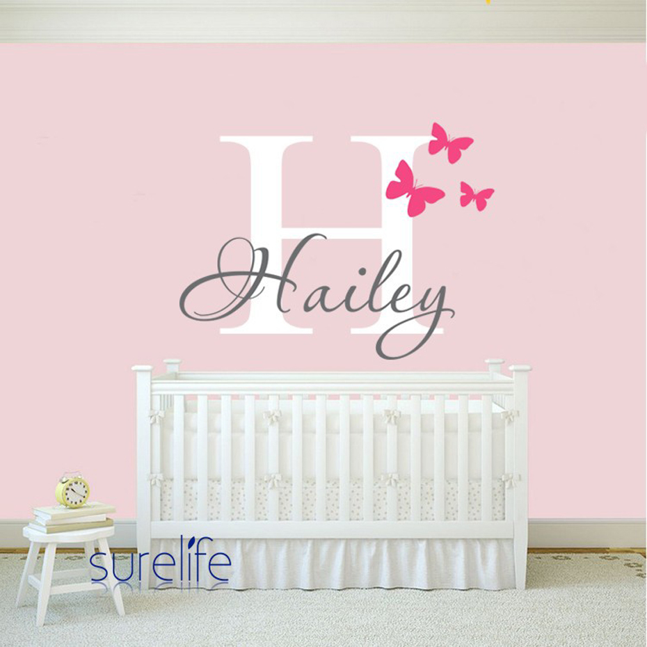 Personalized name initial vinyl wall sticker mural butterflies personalized name initial vinyl wall sticker mural butterflies nursery wall art decals for princess girls kids room home decor in underwear from mother amipublicfo Image collections