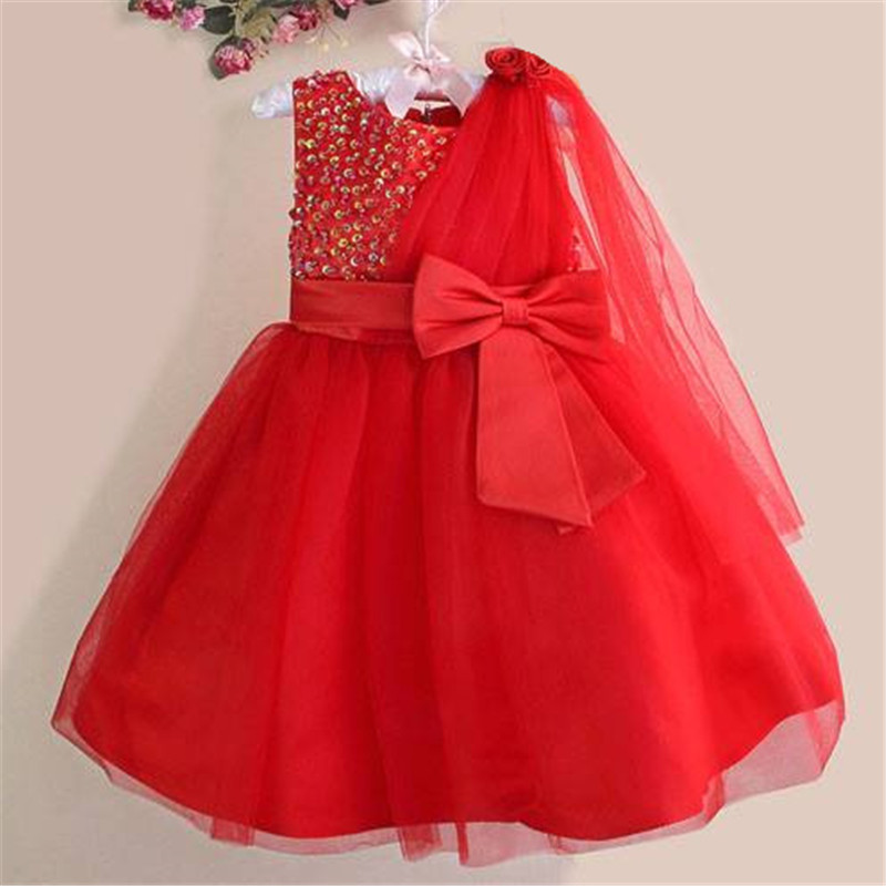Hot Retail! Girl red flower party Dresses Lovely Chiffon Pearl Dress princess dress for new year free shipping 8 colors 618 faux pearl beading open shoulder knot chiffon dress