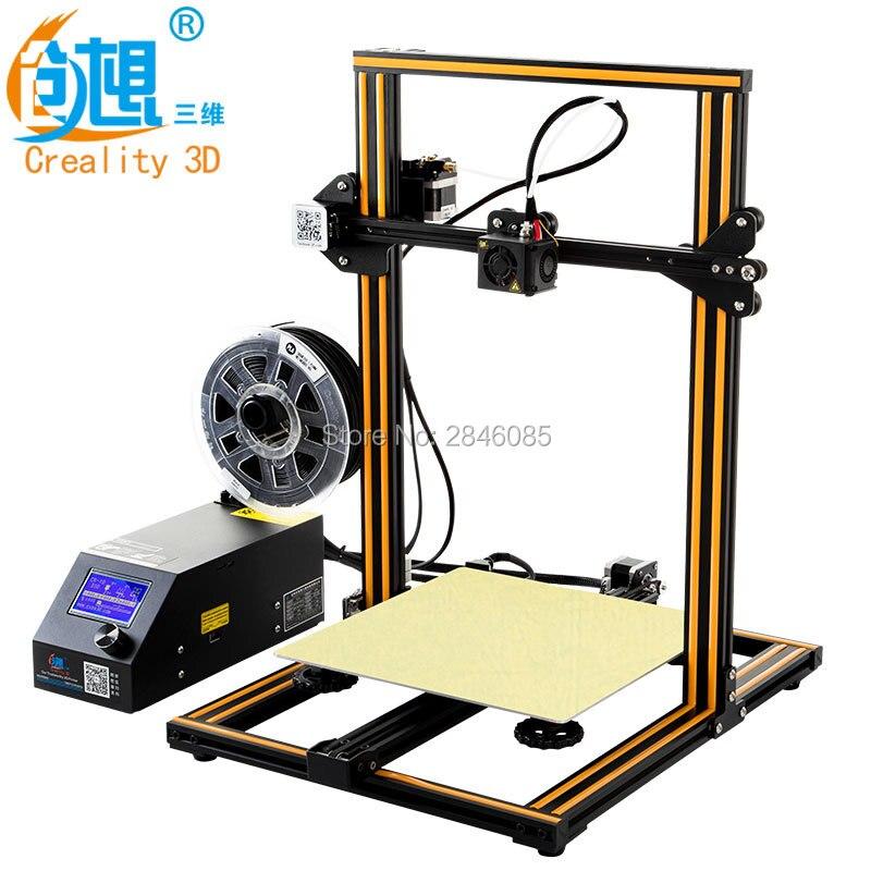 Pas cher Creality CR-10 3D Imprimante Grand Impression Taille 300*300*400mm Semi DIY 3D Imprimante Kit En Aluminium chauffée lit Livraison Filament Outil