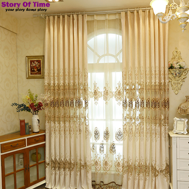 D Insulated Blackout Curtains Embroidery Style Decoration For Living Room Lace Window Curtain
