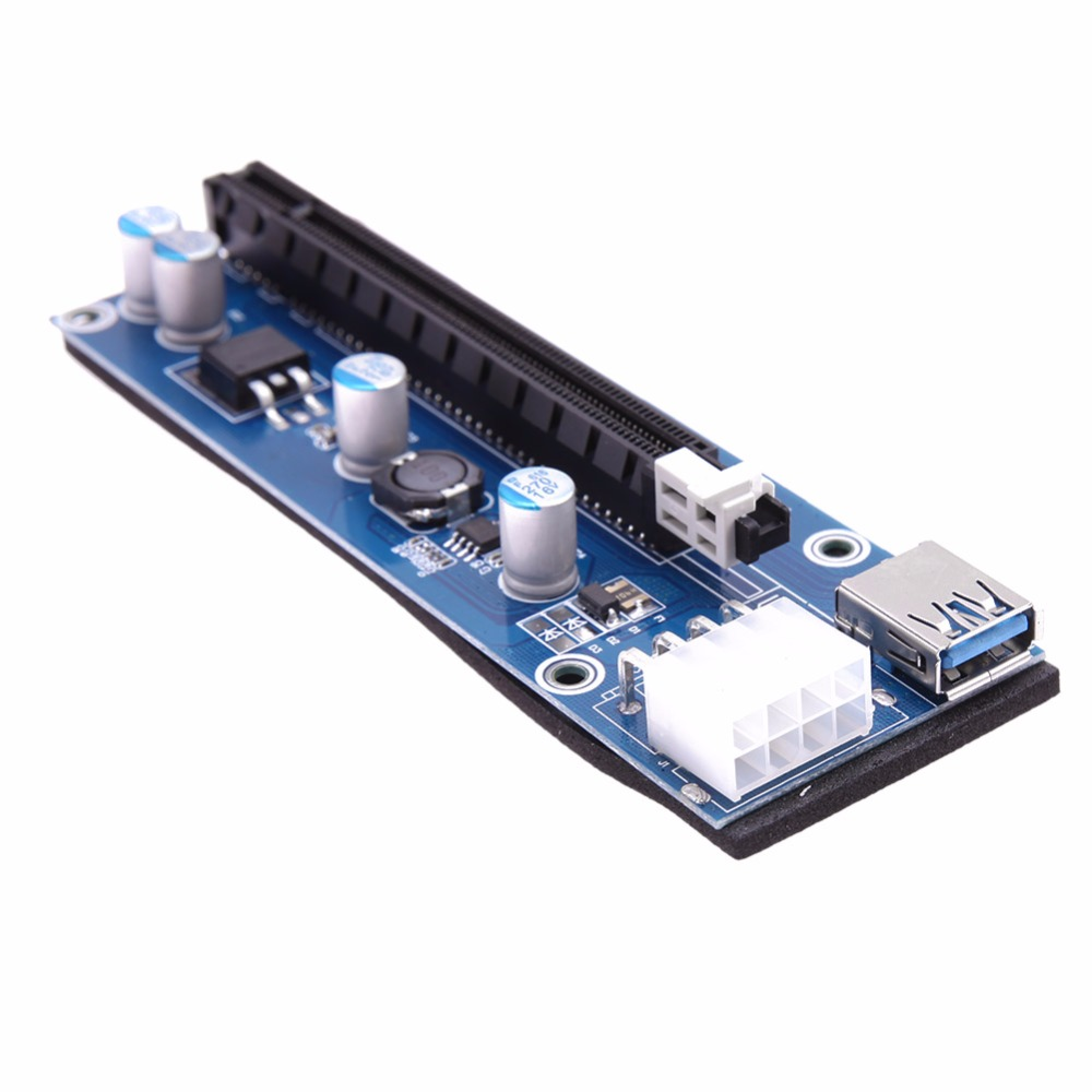 USB 3.0 PCI-E Riser Express 1X 4x 8x 16x Extender Riser Adapter Card SATA 15pin Male to 8Pin Power Cable for mining high quality pci e to usb 3 0 4 port express riser expansion card extender adapter for mining speed extra power connector