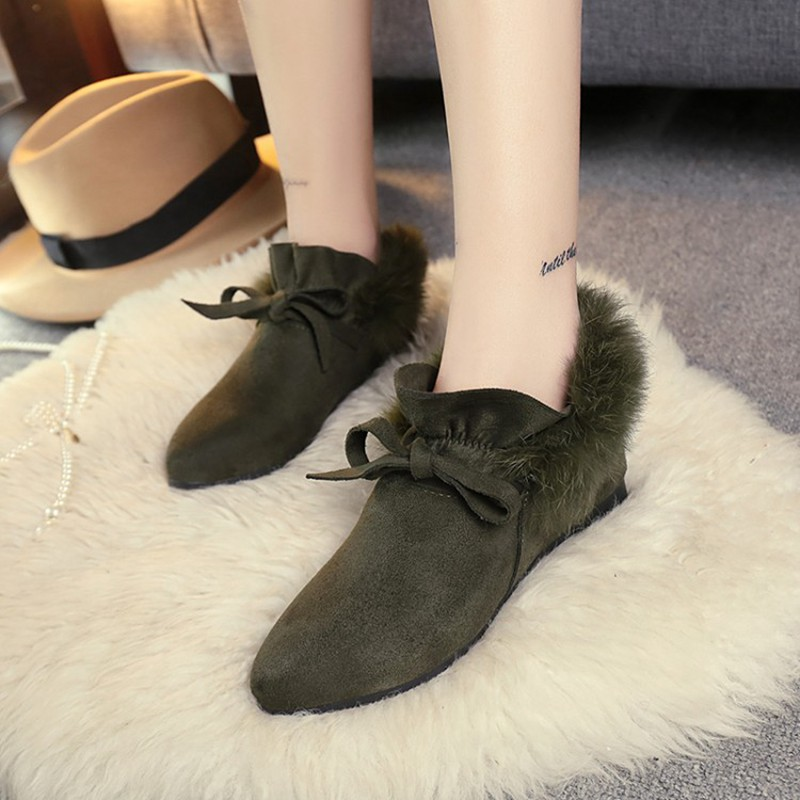 COOTELILI  Women Boots Winter Autumn Ankle Boots For Women Boots Slip On Real Fur Rubber Flat Boots Ladies Women Shoes 35-.39 (4)