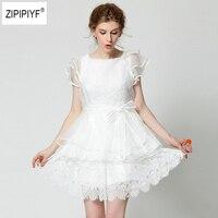 Для женщин летние милые Мини платья кукла оборками бальное платье с рукавом лепестком кружевные пикантные Тонкий невесты вечерние Kawaii с ба