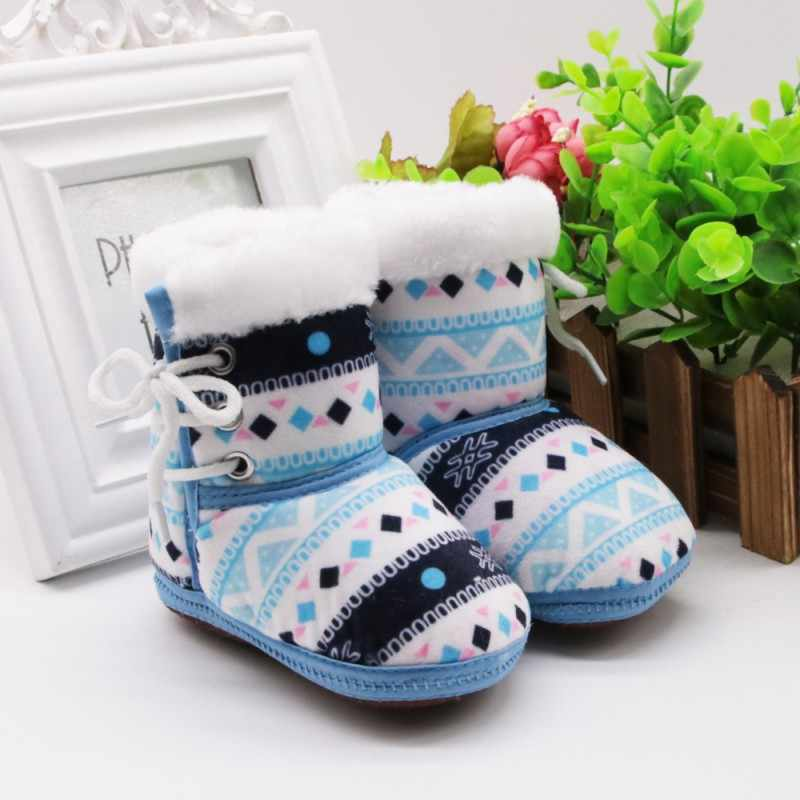 Autumn Winter Baby Boys Girls Warm Fleece Snow Boots Cute Anti-silp Comfortable Patchwork Prewalker High Quality Booties 0-18M