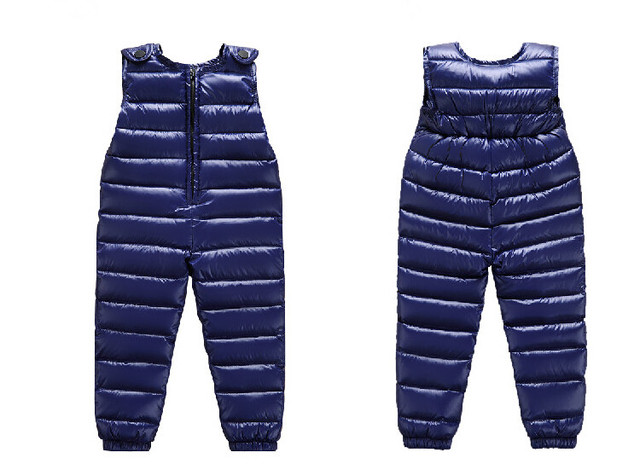2016 Children Down Overalls Winter Baby Boys & Girls 90% White Duck Down Padded Thermal Suspender Trousers Kids Pants
