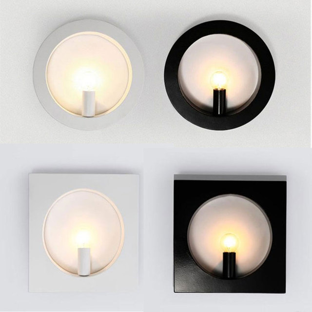 moder lighting. Moder Art Decoration Sconce Black White Square Ring Iron Wall Lamp Lighting Fixture Designer Sconces On