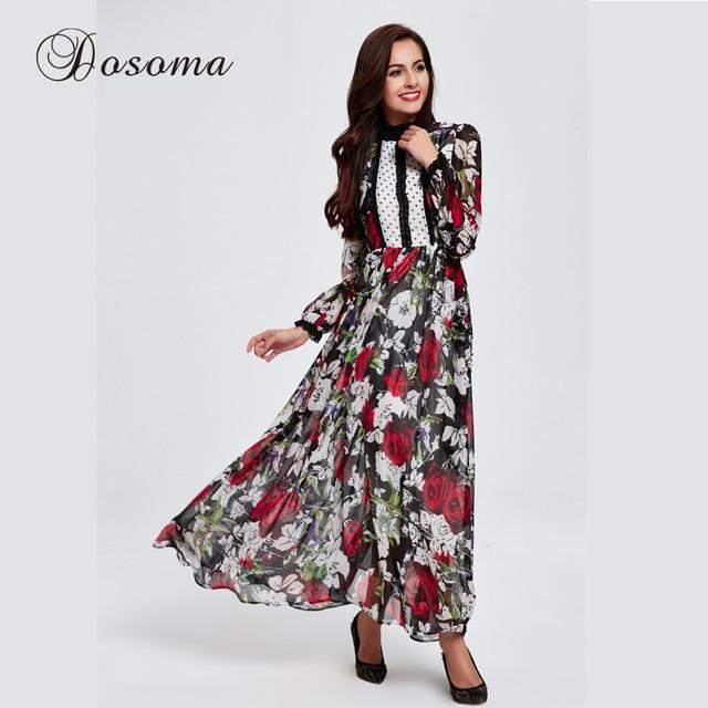 934c360ca9 Elegant Chiffon Maxi Dress Print Flower Beach Muslim Middle East Evening  Party Long Abaya Robe Burka Kaftan Hijab Islamic Arab