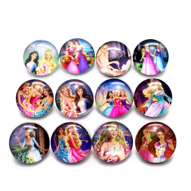 Newest 10pcs/lot cartoon Barbie doll Snap Buttons Charms 18mm Glass Buttons Fit DIY Snap Bracelets&bangle Decoration Jewelry image