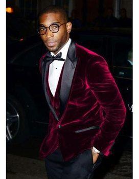 Stylish Design One Button Dark Red Velvet Groom Tuxedos Groomsmen Peak Lapel Mens Suits Blazers (Jacket+Pants+Vest+Tie) W:1091