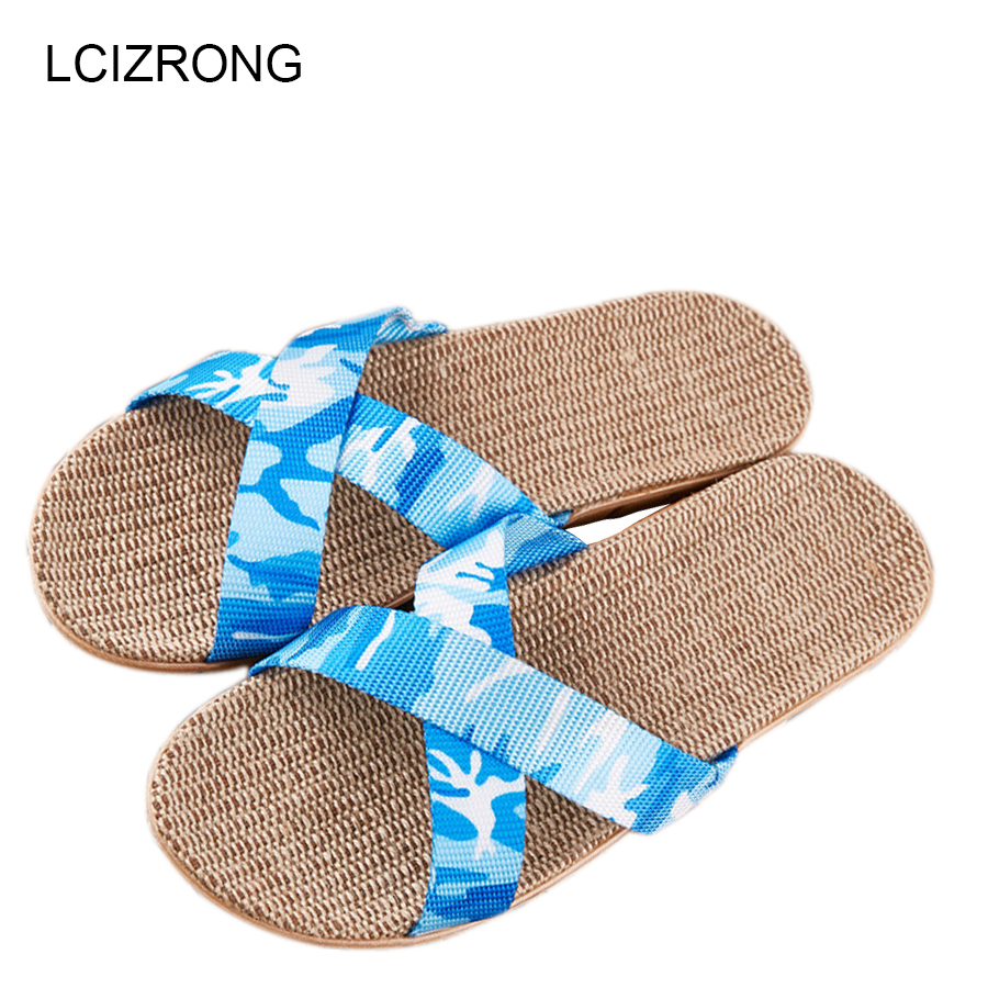 LCIZRONG Summer Camouflage Flax Indoor Slippers Women 35-45 Large Size Fashion Ladies Bedroom Slippers Non-slip Unisex Slippers