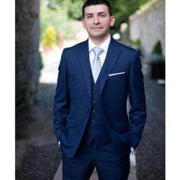 Navy Blue Groom Wedding Tuxedos Peak Lapel Groomsmen Suit Best Mens Wedding Business Prom Suits Custom Made (Jacket+Pants+Vest)