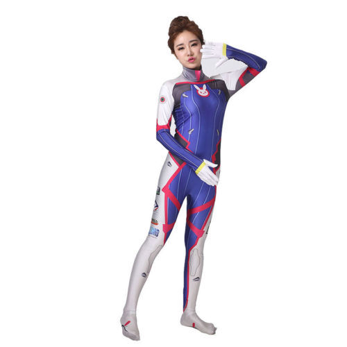 Game D.VA 3D Printed Zentai Suit Second Skin Tight Suit Spandex Lycra Bodysuit Woman Cosplay Costume for Halloween