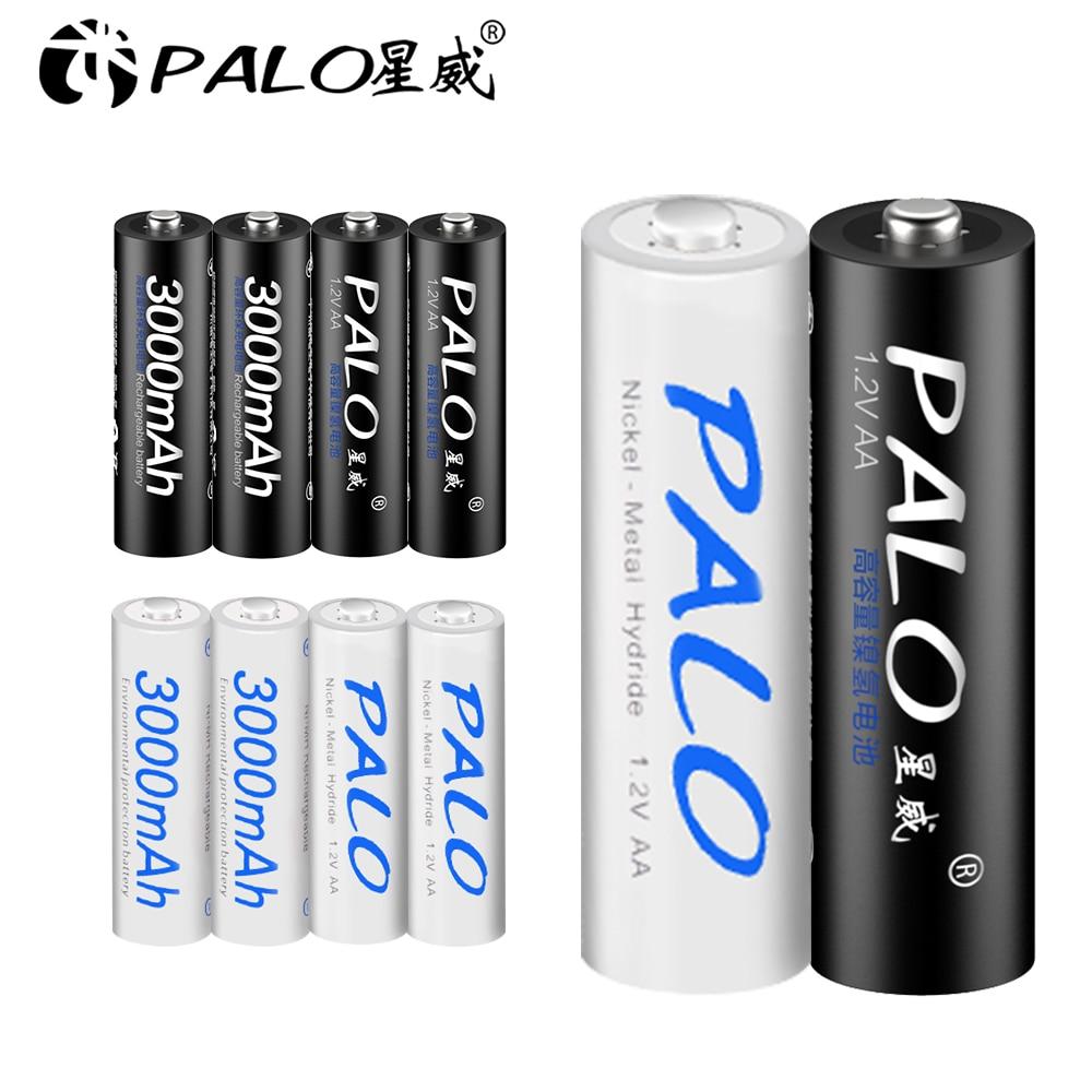 Pilhas recarregáveis do aa bateria ni-mh 3000 mah 1.2 v 2a dos pces de palo 8 pilhas recarregáveis aa bateria baterias + 2 caixas do caso da posse da bateria dos pces