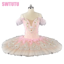 adult classical ballet tutu with flowers pancake paltter light pink peach professional Tutu BT9028B