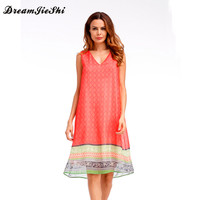 Dreamjieshi Fashion Women Knee Length Tank Dress Chiffon Print Beach 2017 Summer Sleeveless Loose Casual Vestidos