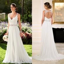 Jeanne Love Sexy White V Neck Luxury Vestido De Noiva Backless Robe De Mariage Bridal Gown Beach Wedding Dresses 2016 TG29912