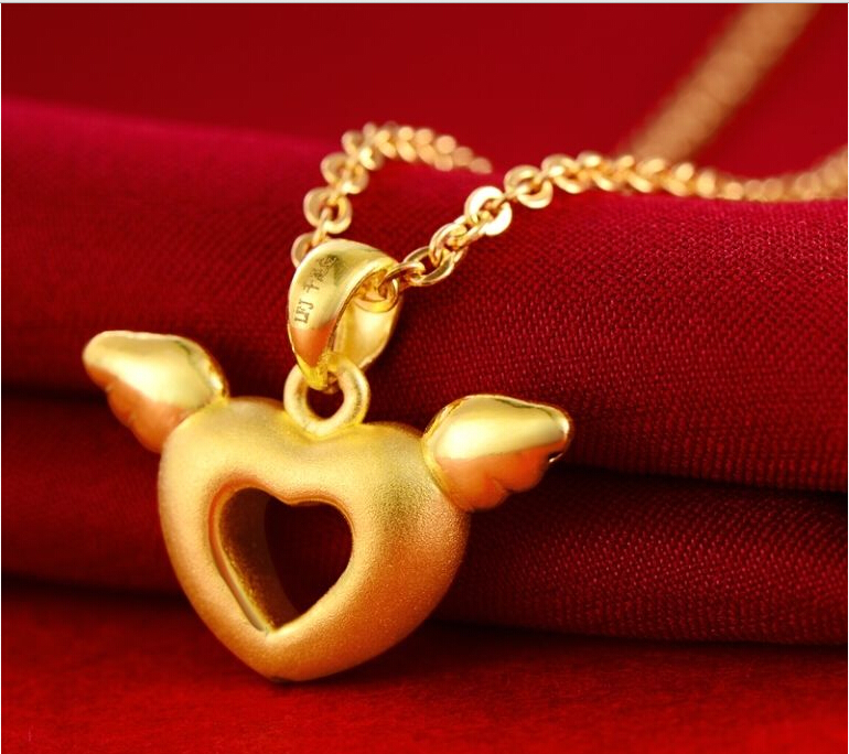 Pure 24k Yellow Gold Pendant/ 3D Craved Bless Angel Heart Pendant/ 1.66g 14k enamel heart angel pendant jewelryweb