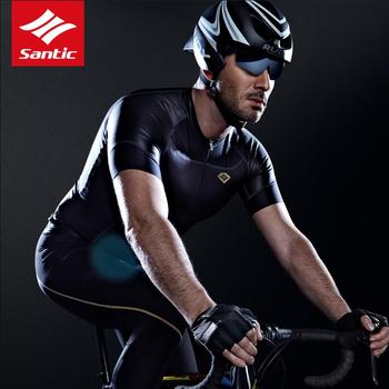 Santic Men Cycling Short Jersey Fit Water Diffusible Fabric High Quality Seamless Cuff Road Bike Short Sleeve Cycling Clothings