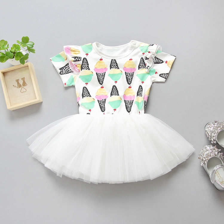 2017 Summer Dress Toddler Kids Girls Clothes Ice Cream Print Tutu Ball Gown Princess Girls Party Dresses Outfits 1-6Y