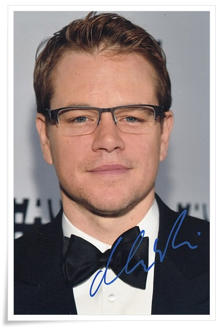 Matt Damon autographed signed photo 4*6 inches authentic freeshipping  01.2017 01 damon dean cascading sheets for dummies®