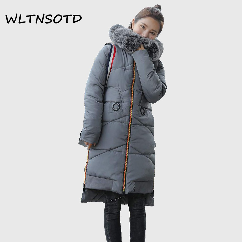 2017 winter new cotton coat women's thick Hooded Big Fur collar Slim jacket Female fashion long warm printing pattern Parkas 2017 winter new coat womens long slim hooded large fur collar thick cotton warm jacket for female zipper pattern epaulet padded
