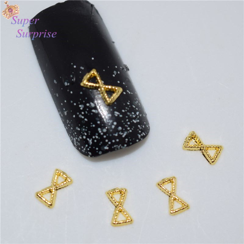 Careful 50pcs New Golden Bow Nail Stickers Rhinestones & Decorations 3d Metal Alloy Nail Art Decoration/charms/studs,nails 3d Jewelry H010 Nails Art & Tools