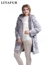 LIYAFUR New Design Double Two Sides Wear Coat Rex Rabbit Fur Long Hoodie Coats For Women Winter Warm Down Hood Outerwear