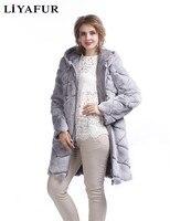 LIYAFUR Thiết Kế Mới của Đôi Hai Bên Mặc Áo Rex Thỏ lông Dài Hoodie Áo Khoác Cho Phụ Nữ Mùa Đông Ấm Xuống Mui Xe áo khoác ngoài