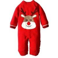Winter Thicken Infant Rompers Christmas Deer One Piece Newborn Boys Girls Warm Jumpsuits Wool Knitted Fleece
