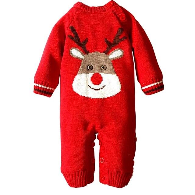 713978e9c93b Winter Thicken Infant Rompers Christmas Deer One Piece Newborn Boys ...