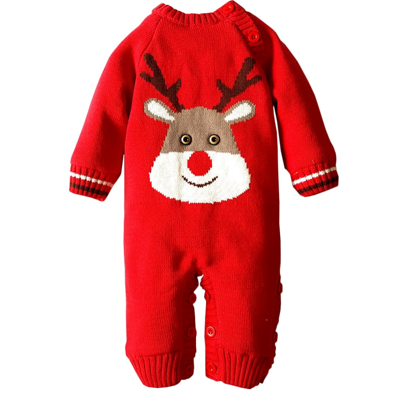 Winter Thicken Infant   Rompers   Christmas Deer One-Piece Newborn Boys Girls Warm Jumpsuits Wool Knitted Fleece Unisex Baby Clothes