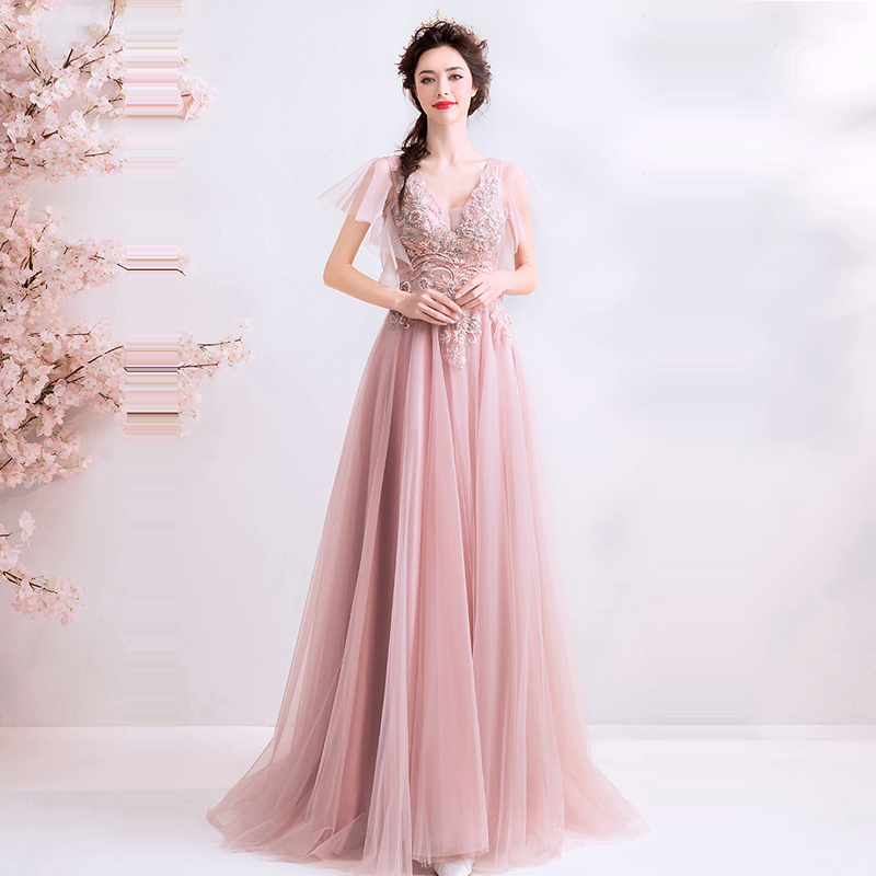 Evening Dress Lace V-neck Women Party Dress Embroidery Robe De Soiree 2019 Long Sleeve Plus Size Short Sleeve Evening Gowns E619