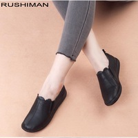 RUSHIMAN Autumn Women Genuine Leather Flat Shoes Woman Causal Shoes Comfortable Slip On Mother Shoes Women Loafers