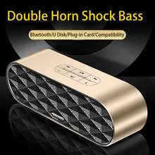 Smart Bluetooth speaker dual horn Dual chip super bass 360 degree stereo surround sound MINI portable HD call TF card voice tips
